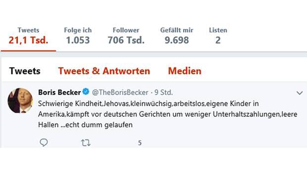 Der inzwischen gelöschte Tweet von Boris Becker über Oliver Pocher