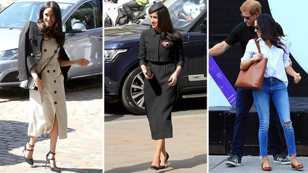 Keine Strumpfhose, übergeworfener Blazer, Umhängetasche, schwarze Kleider, zerrissene Jeans: Outfits wie diese kann Meghan als Herzogin nicht mehr tragen