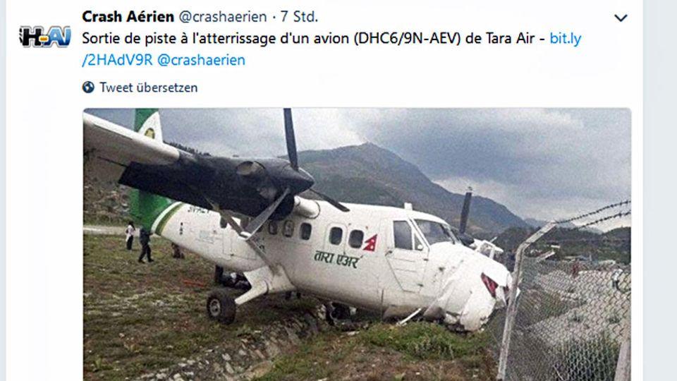 Die verunglückte Twin Otter von Tara Air in nepal
