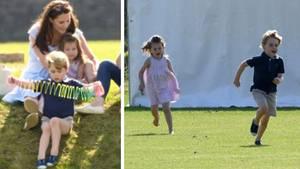 Prinz George und Prinzessin Charlotte spielen am Rande eines Polo-Turniers