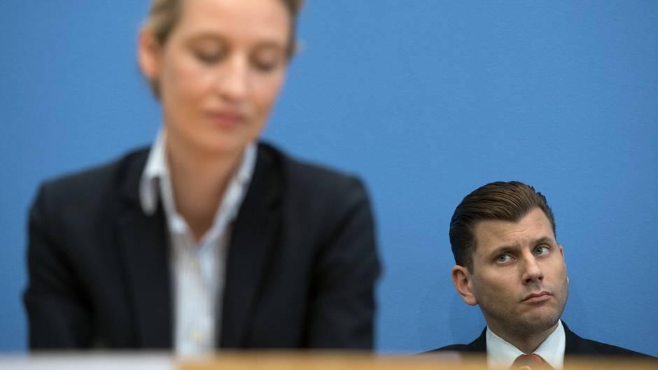 AfD-Sprecher Christian Lüth (mit Alice Weidel im Vordergrund) und die Lücke im Lebenslauf