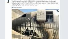 Der durch Feuer beschädigt Airbus A340-300 der Lufthansa am Flughafen Frankfurt.