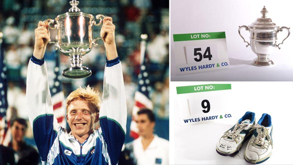 Boris Beckers US-Open-Trophäe wird ebenso versteigert wie Schuhe und andere Andenken