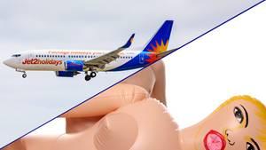 Der Zwischenfall mit einem renitenten Passagierund einer Sexpuppe ereignetesich an Bord des Billigfliegers Jet2.com.