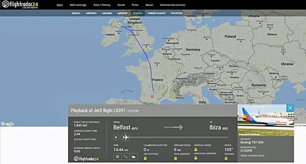 Die Boeing 737-300 von Jet2.com legte wegen eines randalierenden Passagiers am 8. Juni auf dem Weg von Belfast nach Ibiza eine außerplanmäßige Landung in Toulouse ein.