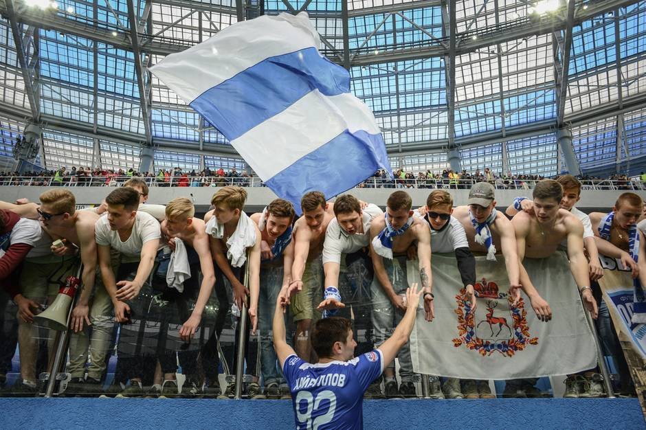Russland: Während des Spiels zur Eröffnung des neuen Fussballstadions in Nischnij Nowgorod.