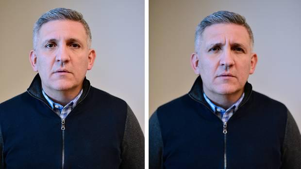 ForscherJulio Martinez-Trujillo mit verschiedenen Gesichtsausdrücken:Die rechte Aufnahme zeigt ihn mit Fältchen um die Augen, einem Merkmal des Duchenne-Ausdrucks