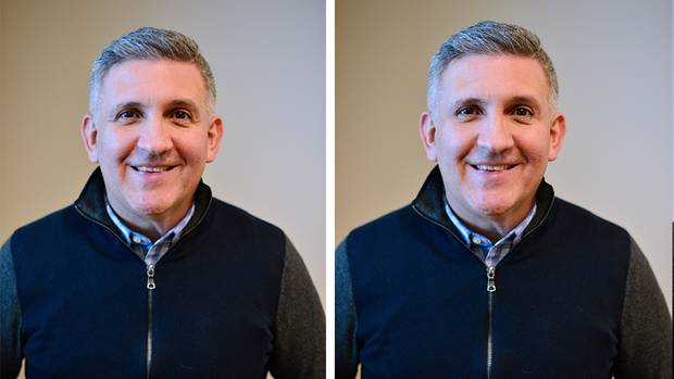 Einmal mit Falten um die Augen (links) und einmal ohne Falten (rechts): Welcher Ausdruck wirkt aufrichtiger?