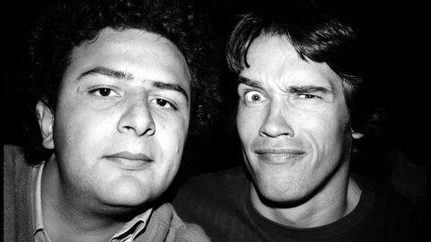 Arnold Schwarzenegger schnitt 1977 vor der Kamera von Jean Pigozzi Grimassen