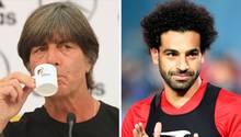 Eine Kombo zeigt llinks Joachim Löw mit einer Espresso-Tasse am Mund und rechts Ägyptens Stürmer Mohamed Salah beim Training