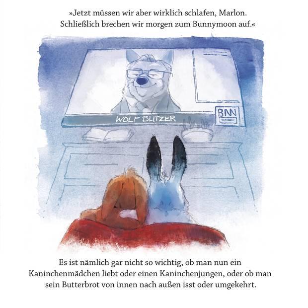 Illustration eines Fernsehers, auf dem Wolf Blitz zu sehen ist