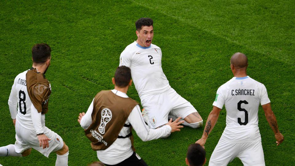 Jose Gimenez (M.) hat Uruguay gegen Ägypten gerade noch vor einer Blamage bewahrt