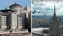 Dort, wo im rechten Bild aus dem WM-Video goldene Kuppeln einer Kathedrale zu sehen sind, steht eigentlich die britische Botschaft in Moskau (l.)