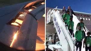 An Bord des Team-Flugzeugs der saudiarabischen Fußball-Nationalmannschaft hat es gebrannt.