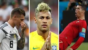Der enttäuschte Toni Kroos (l.), der eigenwillig frisierte Neymar und der jubelnde Cristiano Ronaldo (r.)