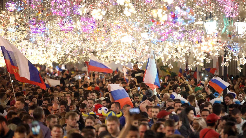 Russland: Fans feiern in Moskau den Sieg der russischenMannschaft gegen Ägypten