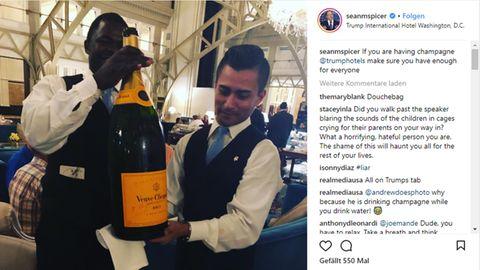 Event im Trump-Hotel: An der Grenze weinen die Kinder. Trump trinkt Champagner mit reichen Freunden
