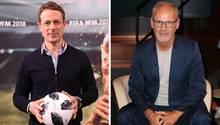 Alexander Bommes und Reinhold Beckmann springenClaudia Neumann zur Seite