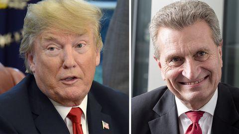 Ein Zusammenschnitt zeigt Donald Trump und EU-Kommissar Günther Oettinger