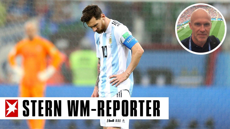 Superstar mit hängendem Kopf: Lionel Messi nach der Niederlage des Vizeweltmeisters Argentinien gegen Kroatien