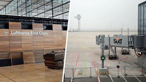 Eindrücke vom neuen Berliner Flughafen BER in den Jahren 2012 und 2018.