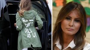 """Als Melania Trump in den Flieger nach Texas steigt, steht auf der Rückseite ihres olivgrünen Parkas: """"Mir ist es wirklich egal, und dir?"""""""