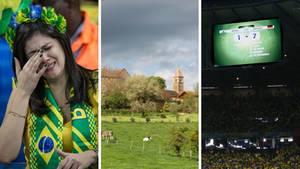 Die 1:7-Halbfinalniederlage gegen Deutschland bei der WM 2014 sorgte nicht nur im Stadion von Belo Horizonte (l.), sondern auch im französischen DorfTaizé (m.) für Entsetzen bei den Brasilianern