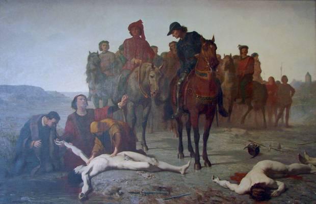 Die Leiche Karls des Kühnem wird gefunden. Der Maler Auguste Feyen-Perrin idealisierteden Toten, tatsächlich war der prachtliebende Fürst vollkommen entstellt.
