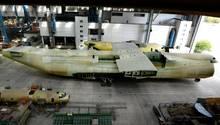 Der Rumpf dieser AN-225 ist fast fertiggestellt.