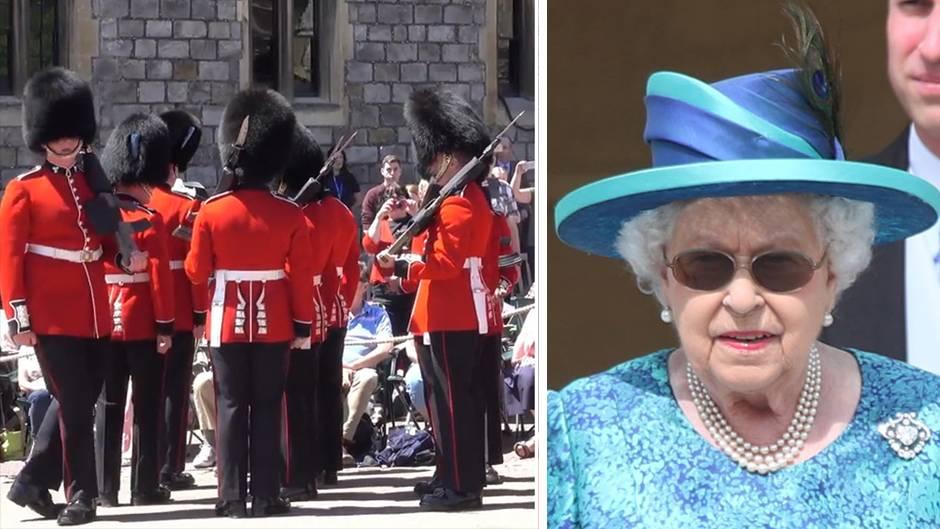 Seltener Patzer: Britische Garde tritt tatsächlich mal aus der Reihe – und die Queen sieht zu