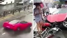 Frau mietet Ferrari und baut sofort einen Totalschaden