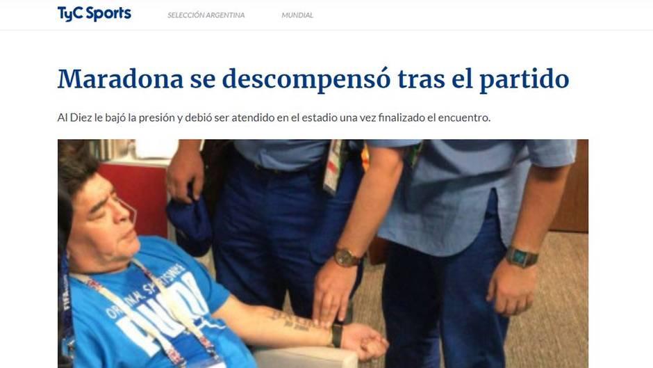 Maradona erleidet nach dramatischem Argentinien-Sieg einen Schwächeanfall