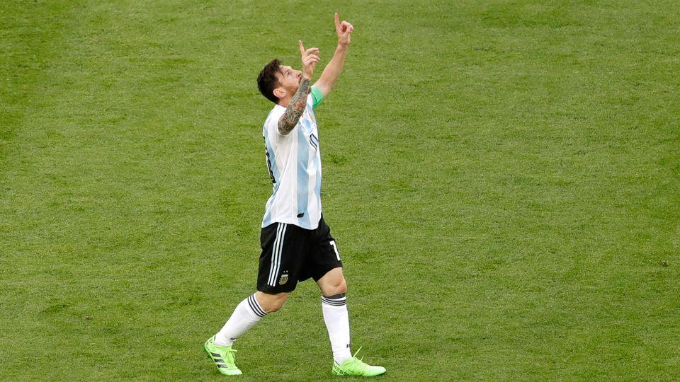 Lionel Messi nach seinemTor zum 0:1 im WM-Spiel Argentiniens gegen Nigeria