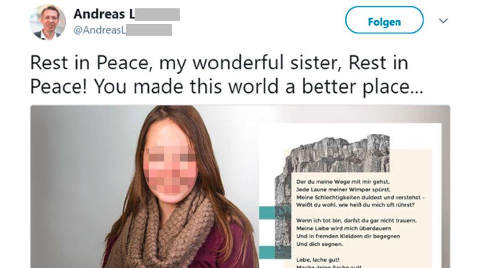 Der Bruder der Vermissten trauert in den sozialen Medien um seine Schwester