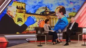 """""""Schicksalstage für die Regierung: Was plant Horst Seehofer?"""", wollte Sandra Maischberger von ihrem einzigen Gast wissen"""