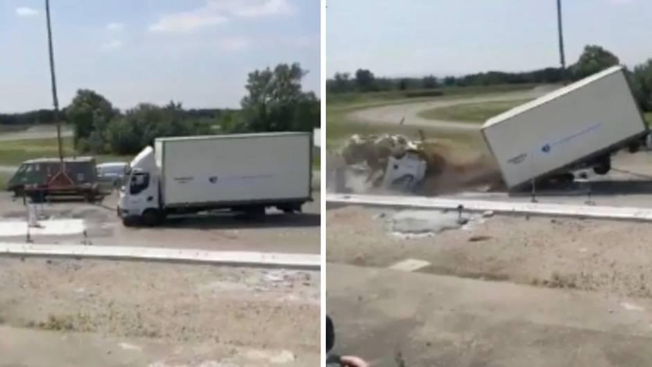 Schutz gegen Lkw-Anschläge: Diese Barriere zerlegt selbst 3,5-Tonnen-Lastwagen