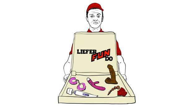 Ein Lieferant bringt eine Pizza-Box mit Sexspielzeug