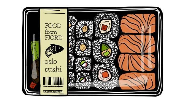 Illustration einer Sushi-Zusammenstellung