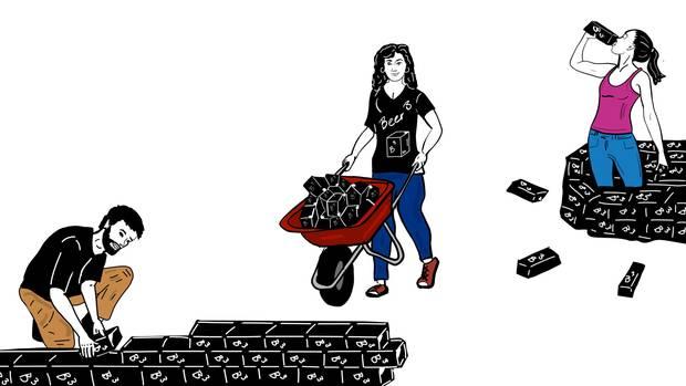 Eine Illustration zeigt, wie quadratusche Flaschen gestapelt werden