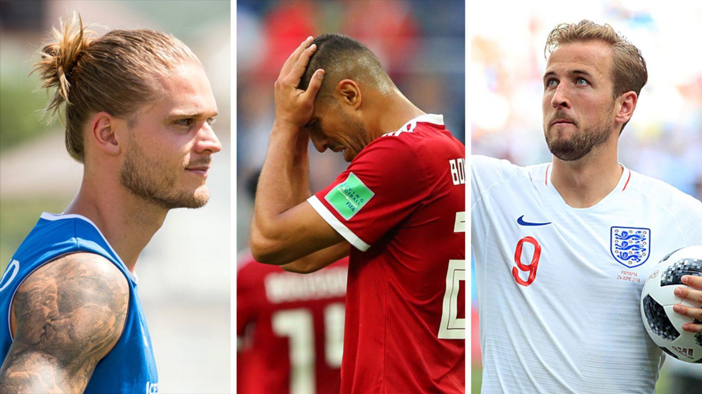 Eine Kobo zeigt die WM-Spieler Rurik Gislason, Aziz Bouhaddouz und Harry Kane (v.l.n.r.)
