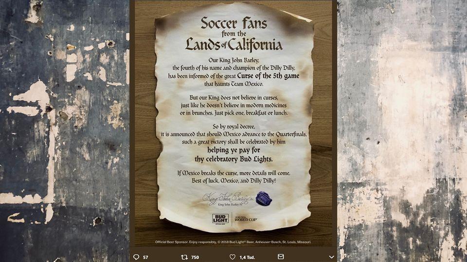 """Angebranntes Papier mit der Überschrift """"Fußballfans aus den Ländern Kaliforniens"""