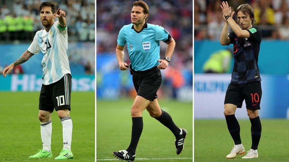 Lionel Messi, Felix Brych und Luka Modric