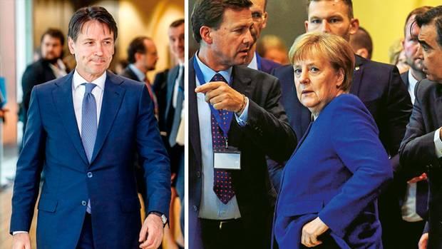 In Brüssel warb Angela Merkel bei Deutschlands Nachbarn – unter ihnen Italiens Ministerpräsident Giuseppe Conte (l.) – für ein gemeinsames Vorgehen