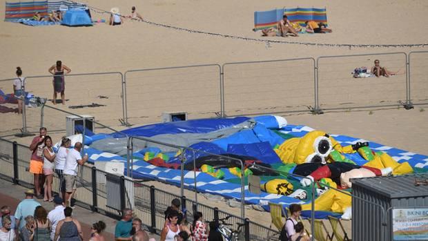 An einem Strand im britischen Gorleston ereignete sich das tragisches Hüpfburg-Unglück