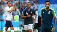Harry Kane, Kylian Mbappé und Neymar