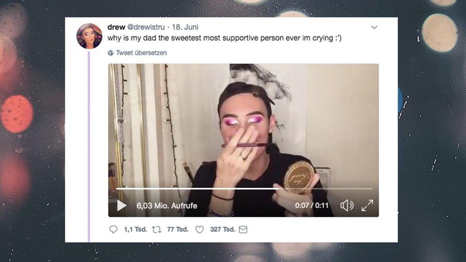 USA: Papa crasht Make-up-Tutorial seines Sohnes – Netz zu Tränen gerührt
