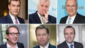 Markus Söder, Horst Seehofer, Joachim Herrmann (o.v.l.), Alexander Dobrindt, Stephan Mayer und Manfred Weber (u.v.l.)