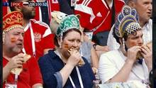 Diese drei Fans gelten seit dem Spiel zwischen Russland und Spanien als Glücksbringer der Sbornaja