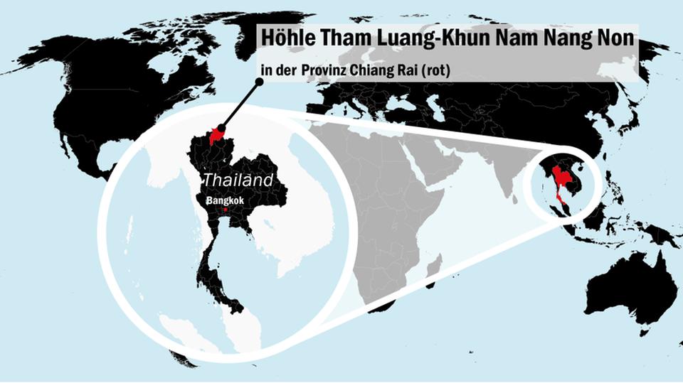 Die Lage der Höhle Tham Luang-Khun Nam Nang Non in der Provinz Chaing Rai im Norden Thailands