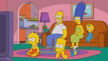 Die Simpsons gucken mit weiten uagen auf den Fernseh-Bildschirm